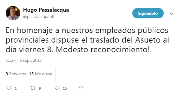 Passalacqua saludó a los Empleados Públicos y recordó que se corrió el asueto para el viernes 8