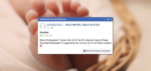 Una mujer puso un aviso para dar en adopción a su hijo en Facebook