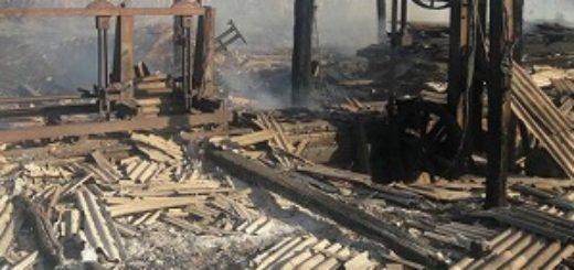 Pérdidas totales al incendiarse un aserradero en Irigoyen