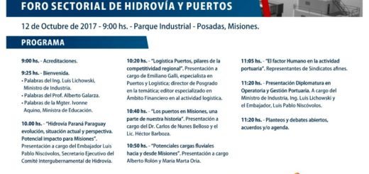 Realizarán el Primer Foro sectorial de Hidrovías y Puertos en el Parque Industrial Posadas