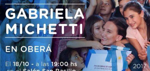 Gabriela Michetti llega hoy a Oberá