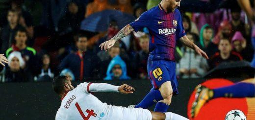 Con un gol de Messi de tiro libre, Barcelona superó al Olympiakos como local