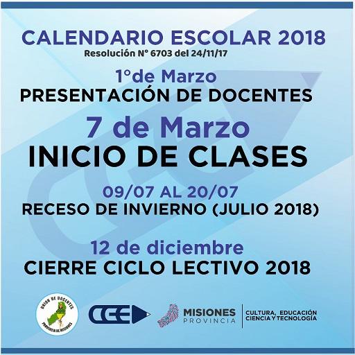 El ciclo lectivo 2018 comenzará el 7 de marzo en Misiones