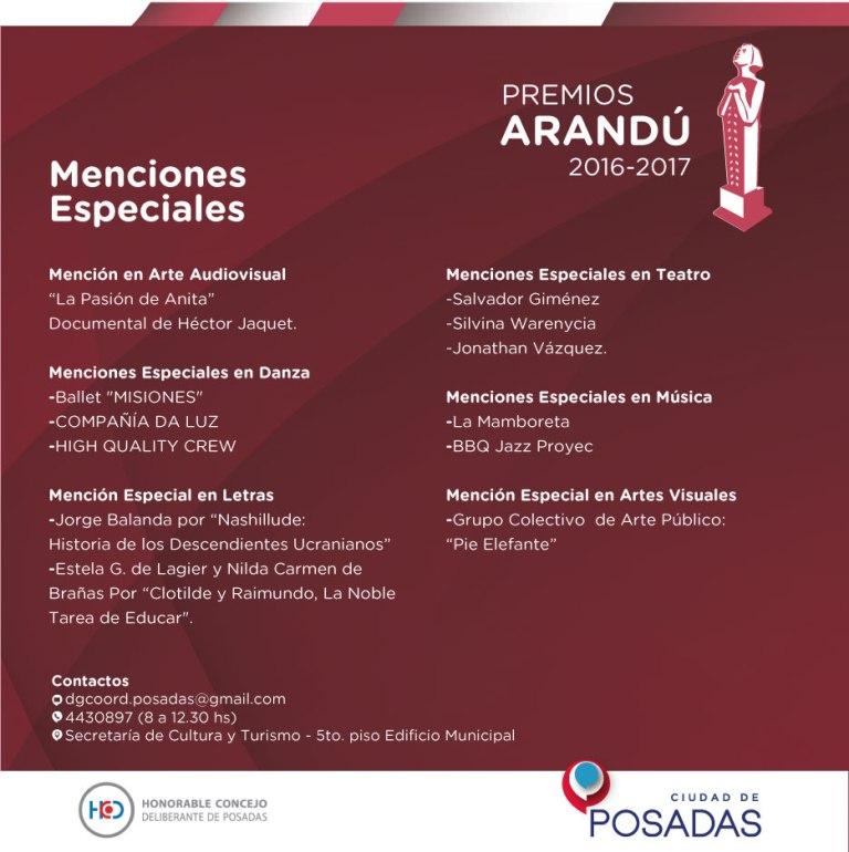 El domingo se entregarán los Premios Arandú