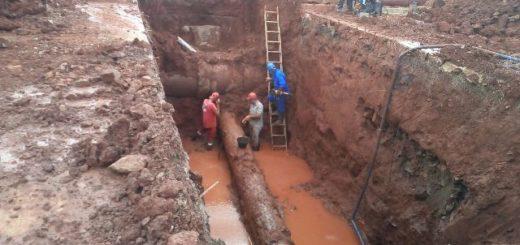 Samsa sigue trabajando para reparar la rotura del acueducto en la zona sur de Posadas