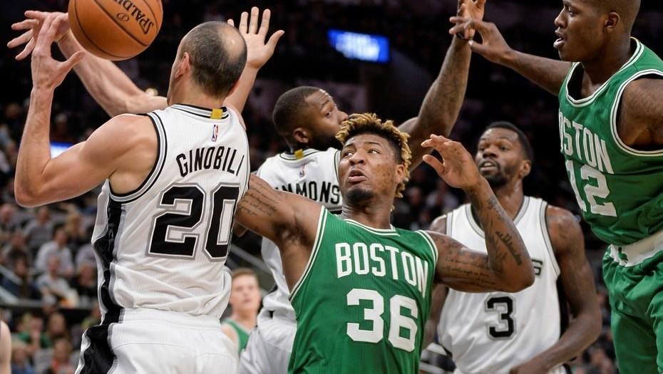 NBA: Ginóbili convirtió un triple sobre el final y sentenció la victoria ante Boston Celtics por 105 a 102