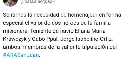 Submarino desaparecido: el Gobernador Hugo Passalacqua homenajeó a Eliana María Krawczyk y a Jorge Isabelino Ortiz