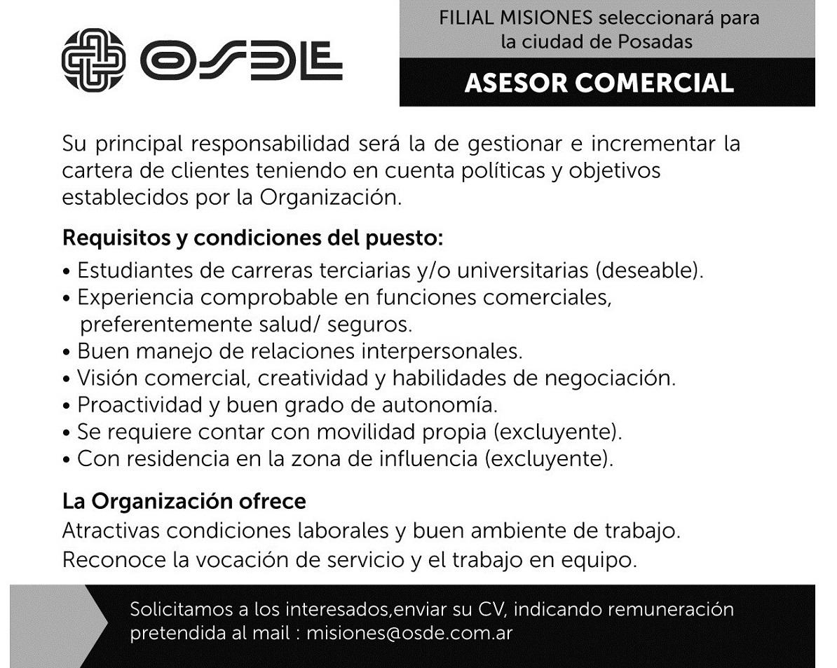 La filial misionera de OSDE incorporará asesores comerciales para Posadas