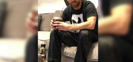 De entrecasa y en pantuflas, Messi compartió una mateada con su esposa