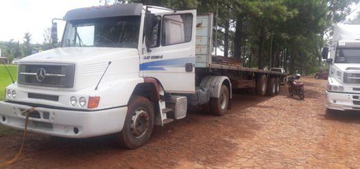 Hallaron abandonado un camión frente a una estación de servicios en San Vicente