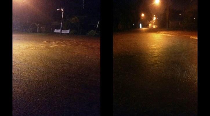 Cayeron 160 milímetros de agua en 40 minutos y Cerro Azul quedó bajo agua