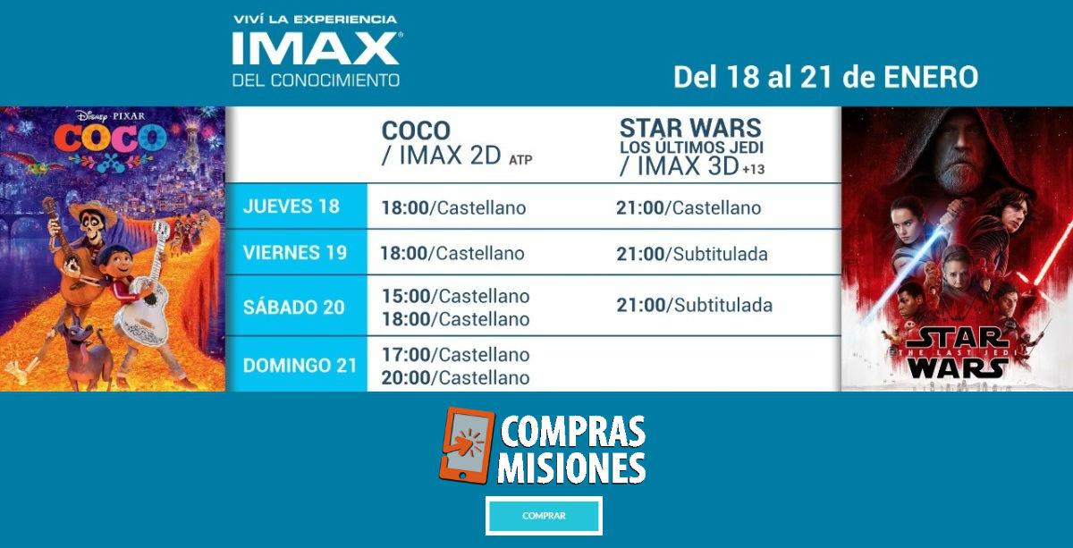 Desde el jueves, Coco y Star Wars Los últimos Jedi, en el IMAX de Posadas: Compras Misiones te vende las entradas