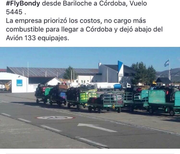 Usuarios denunciaron públicamente a FlyBondi por trasladar los equipajes vía terrestre