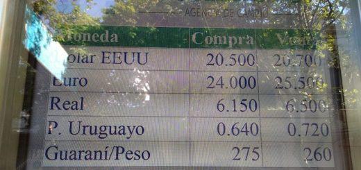 El dólar cerró la semana a 20,70 pesos en casas de cambio de Posadas