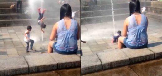 Video viral: una nena vuela por los aires al pisar un chorro de agua