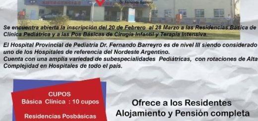 Llaman a concurso para Residencias en Clínica Básica Pediátrica y Pos Básicas de Cirugía Infantil y Terapia Intensiva Pediátrica