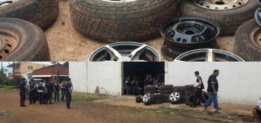 Allanamientos en Posadas: en los predios de gitanos incautaron vehículos, ruedas armadas, neumáticos y llantas de dudosa procedencia