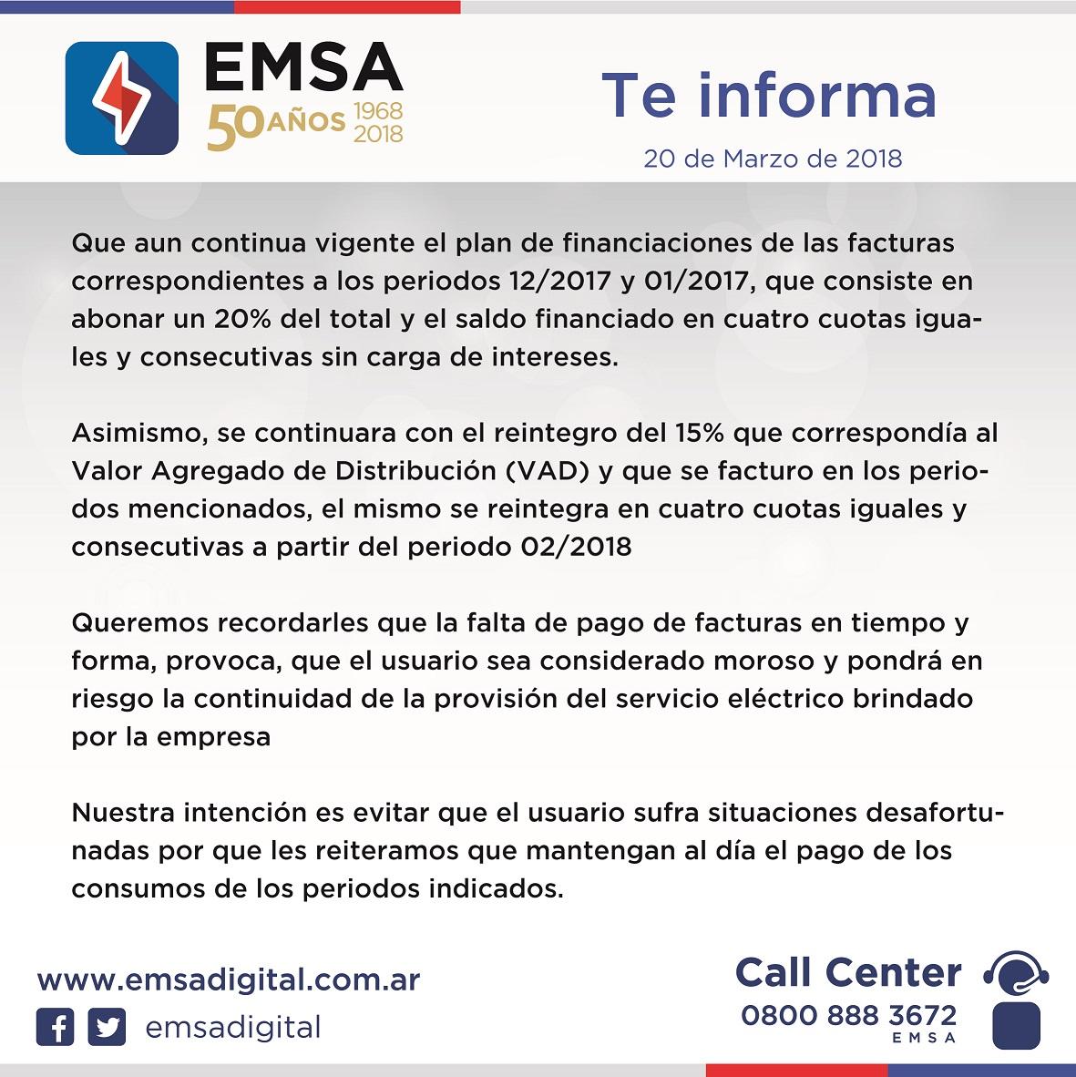 EMSA recuerda que continúan vigentes el reintegro del VAD y el plan de refinanciación de facturas