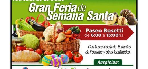 El Miércoles Santo, las Ferias Francas estarán ofreciendo sus productos en el Paseo Bosetti de Posadas