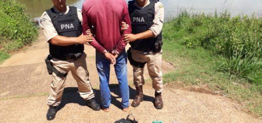 Wanda: narco quiso huir a nado al Paraguay cuando lo pescaron con casi cuatro kilos de cocaína