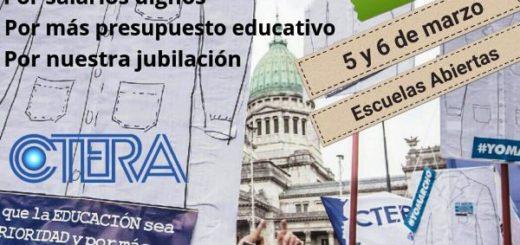 Docentes: La UDPM se suma al reclamo de CTERA con dos jornadas de protestas con escuelas abiertas