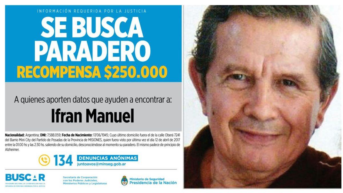 Ya es oficial: hay 250 mil pesos de recompensa a quien aporte datos certeros acerca del paradero de Manuel Ifrán