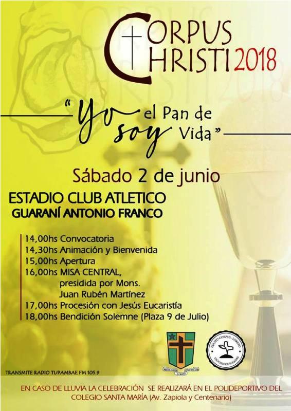 El próximo sábado 2 de junio se celebrará la Solemnidad del Corpus Christi en Posadas