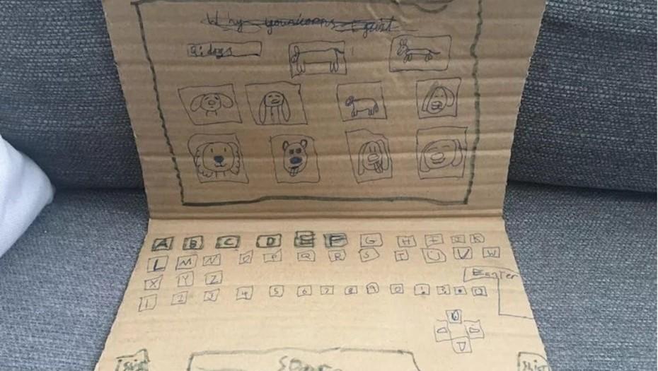 Una nena creó una computadora de cartón y desató una movida solidaria en Internet