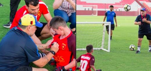 Maradona le cumplió el sueño a un nene sin piernas