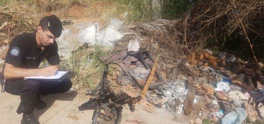 Secuestraron partes de motos desguazadas Y ocultas entre las malezas