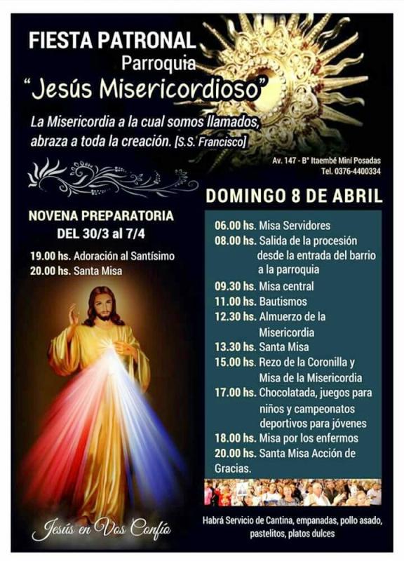 Este domingo se realizará la Fiesta patronal de Jesús Misericordioso en Itaembé Miní