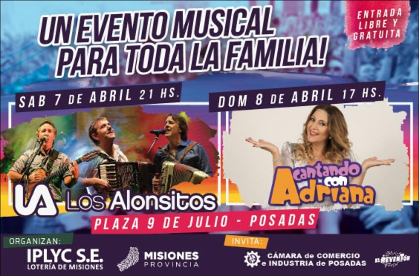 Los Alonsitos y Cantando con Adriana actuarán este fin de semana en la plaza 9 de Julio