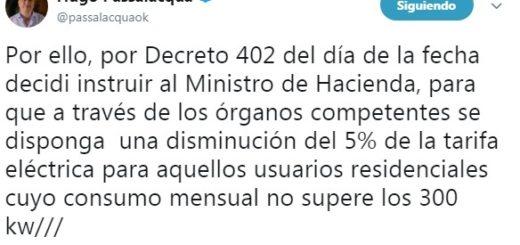 Por decreto del gobernador Passalacqua la tarifa de luz bajará un 5 por ciento en Misiones