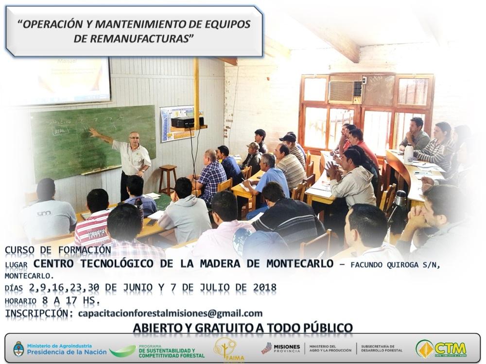 Capacitación gratuita en Oberá y Montecarlo sobre oficios de operación y mantenimiento de equipo de aserraderos y de remanufacturas