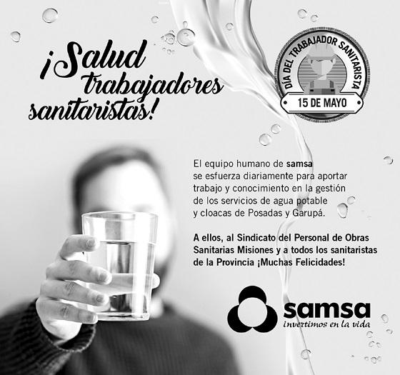 Samsa destaca a los trabajadores Sanitaristas en su día