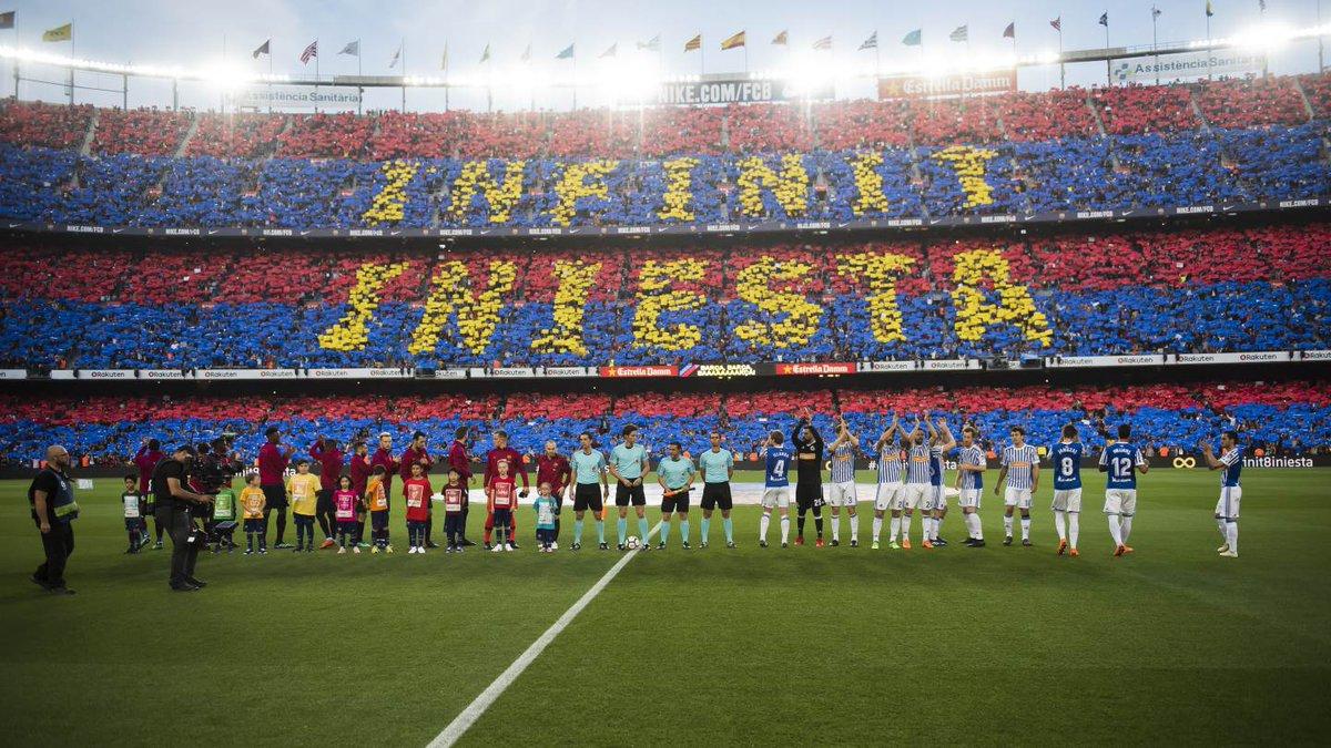 En el último partido de la temporada, Barcelona despidió a Andrés Iniesta con una victoria sobre la Real Sociedad