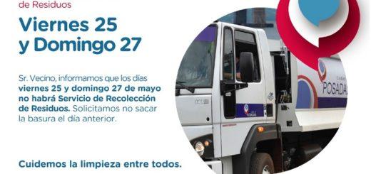 Mañana y el domingo 27 no habrá recolección de residuos en Posadas