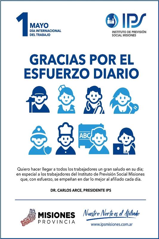 El titular del IPS, Carlos Arce saludó a todos en el Día del Trabajador