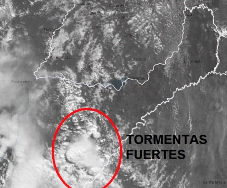 Tormentas y granizos afectan Corrientes y se espera que la inestabilidad llegue mañana a Misiones