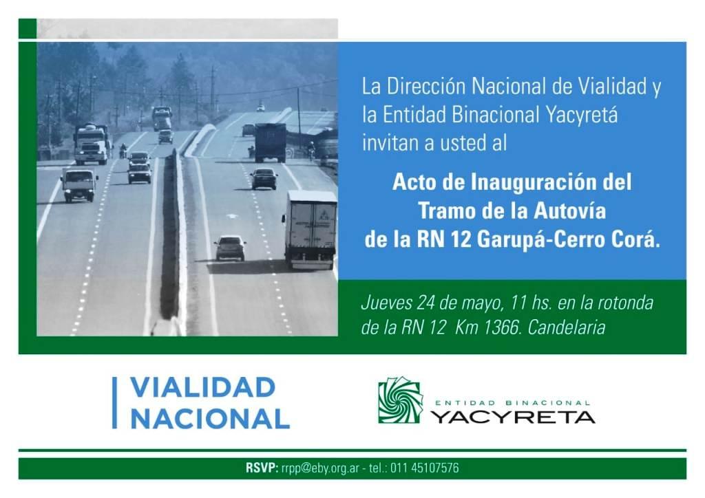 Mañana se inaugura formalmente el tramo de la Autovía que va desde Garupá a Cerro Corá sobre la ruta nacional 12