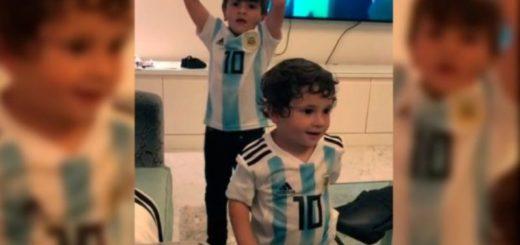 """""""Vamos, vamos Argentina"""": los hijos mayores de Messi alentaron a la selección en un imperdible video"""