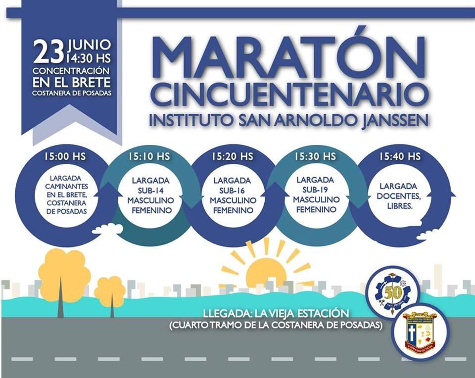 Hoy se realizará la maratón por el cincuentenario del Instituto San Arnoldo Janssen de Posadas