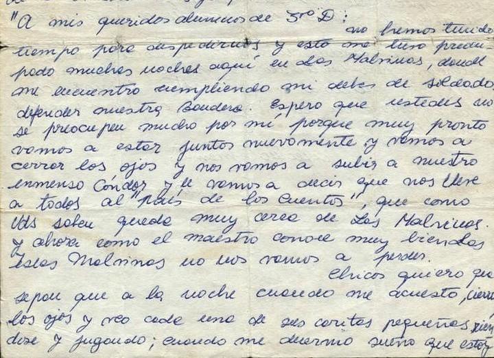 La conmovedora carta que escribió a sus alumnos el soldado maestro que fue a Malvinas y murió en combate
