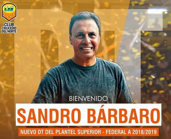 Sandro Bárbaro es el nuevo director técnico de Crucero del Norte