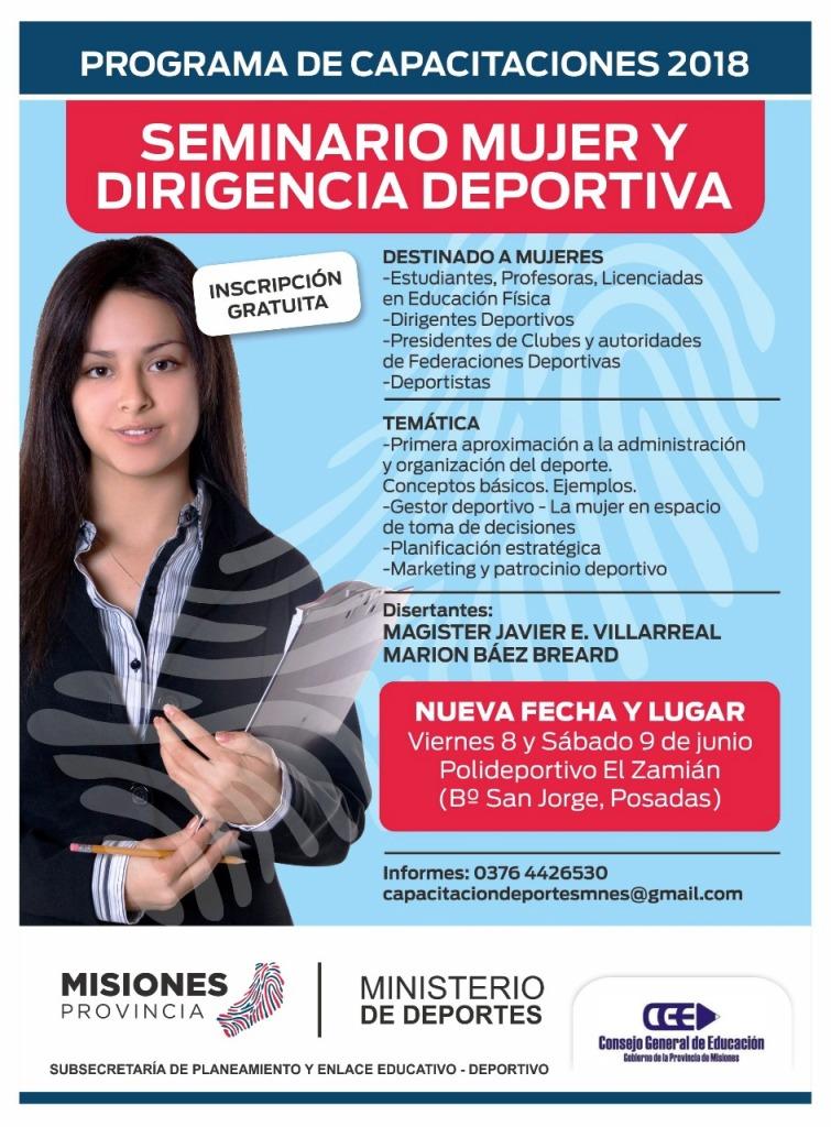 El seminario Mujer y Dirigencia Deportiva se dictará en el polideportivo El Zaimán