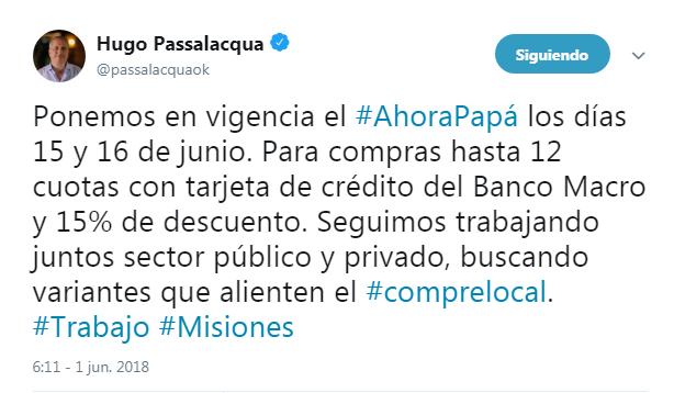 Passalacqua anunció el «Ahora Papá» que estará vigente por el Día del Padre