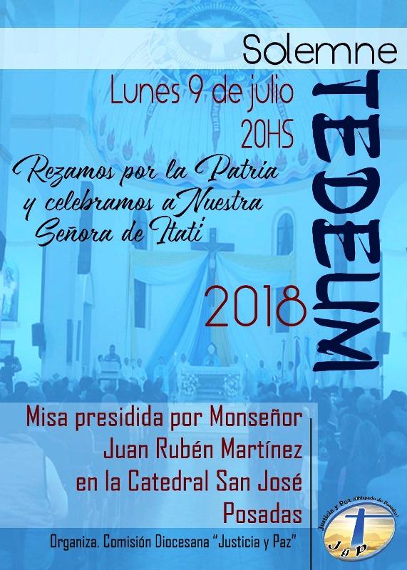 Monseñor Juan Rubén Martínez presidirá la misa por Patria en el Solemne Tedeum el próximo 9 de julio en la Catedral de Posadas