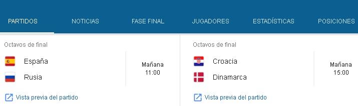 #Mundial2018: en el segundo día de octavos juegan España-Rusia y Croacia-Dinamarca