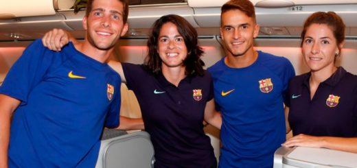 Los dos planteles del Barcelona viajaron a Estados Unidos para la pretemporada, pero las chicas fueron en turistas y los chicos en primera