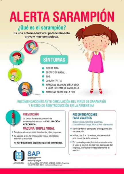 La cepa de sarampión que llegó a la Argentina, circula por otros países de la región